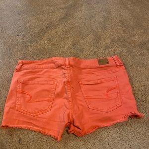 Peach colored short-shorts